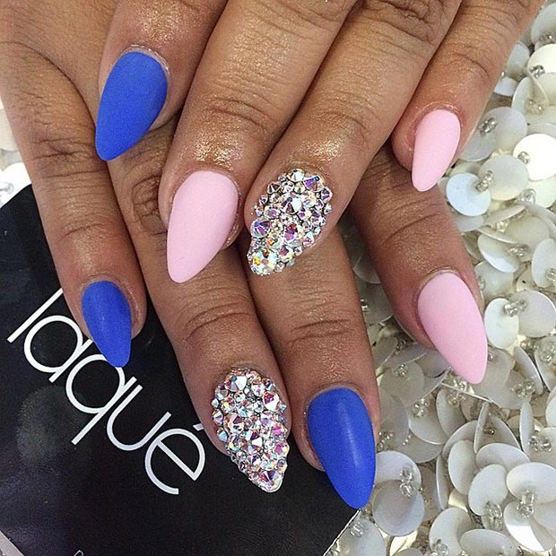 Matte Rhinestones Stiletto Nails