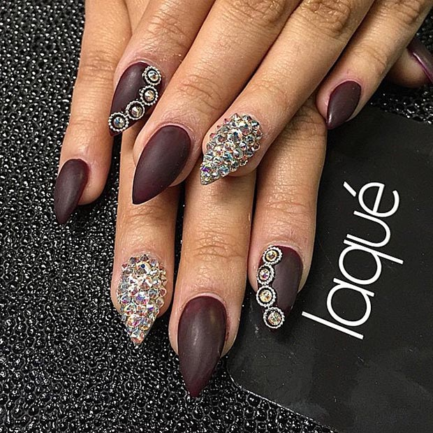 30 creative stiletto nail designs stayglam dark brown rhinestones stiletto nails prinsesfo Gallery