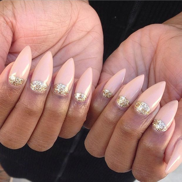 Half Moon Stiletto Nails