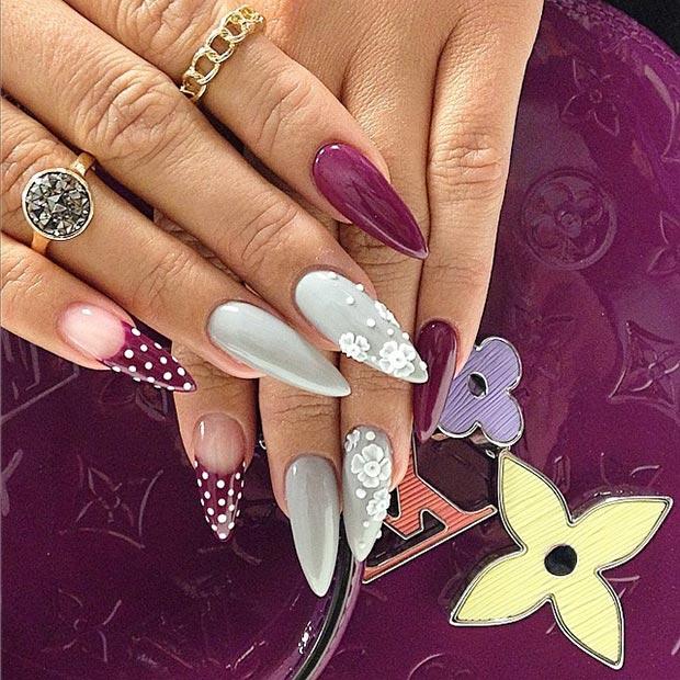 Grey Burgundy Stiletto Nails