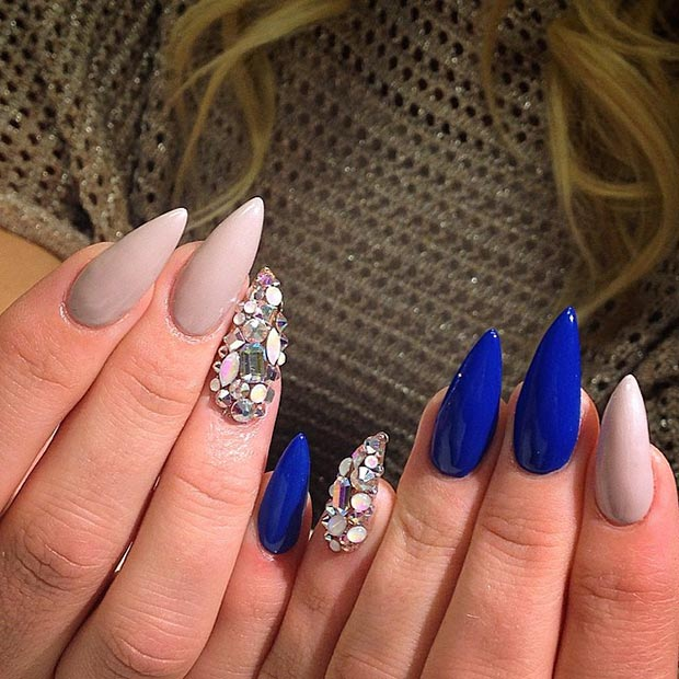 Blue Rhinestones Stiletto Nails