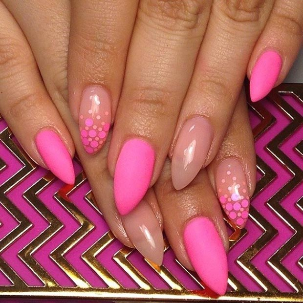 Matte Neon Pink with Nude Stiletto Nails - 30 Creative Stiletto Nail Designs StayGlam