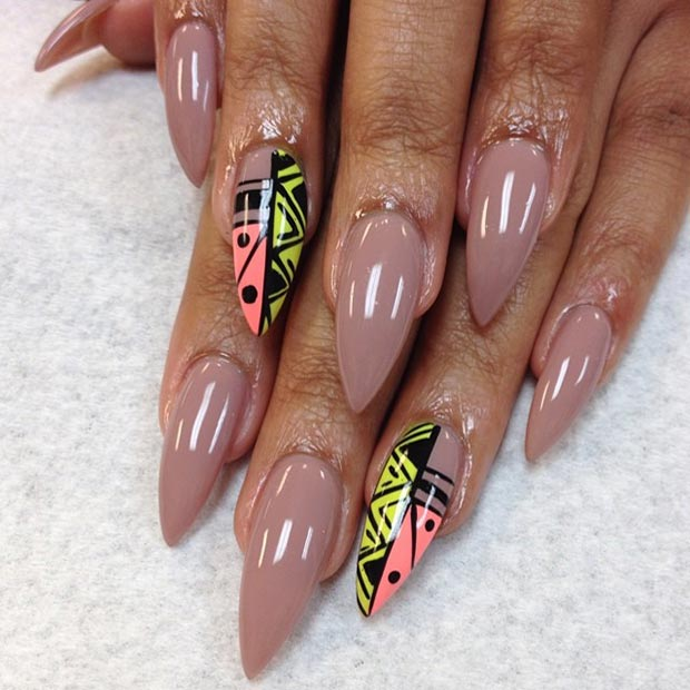 Nude Tribal Stiletto Nails