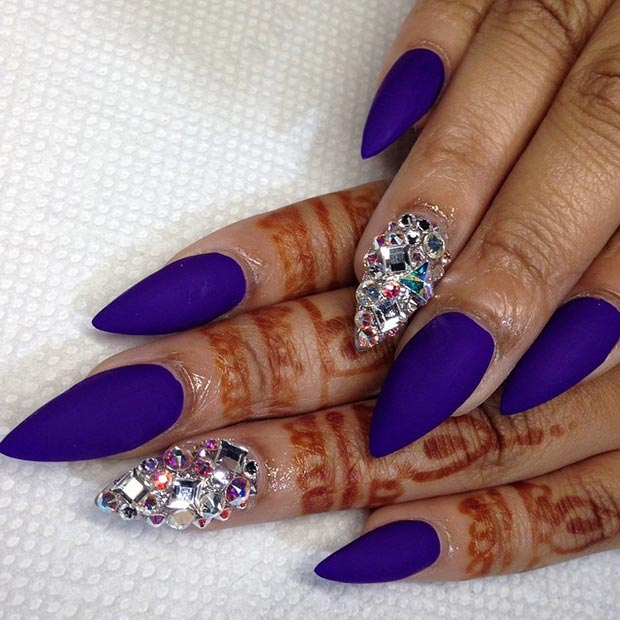 Purple Matte Stiletto Nails Matte Purple Rhinestones Stiletto Nail Design - 52 Incredible Stiletto Nails You Would Love To Have....