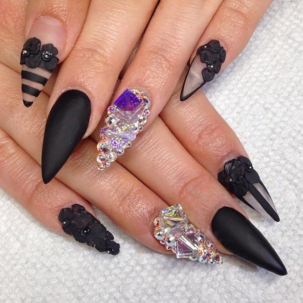 30 creative stiletto nail designs stayglam black matte negative space stiletto nails prinsesfo Choice Image