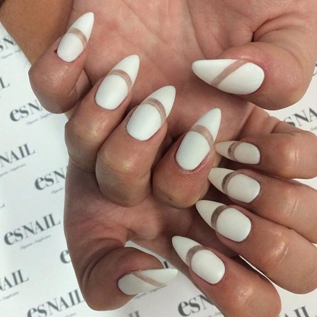 White Matte Negative E Stiletto Nails