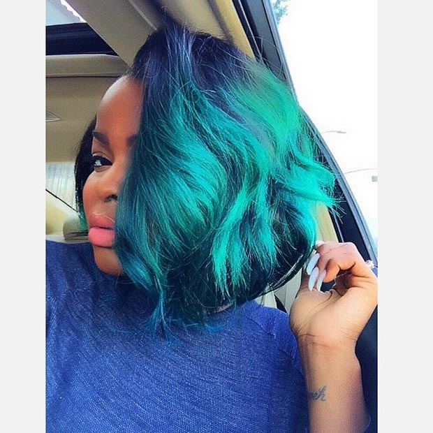 guy curly hairstyles : Blue Green Hairstyles Green Bob Hairstyle For Black