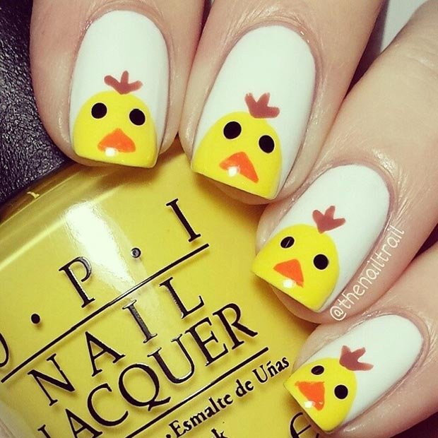 Simple Easter Chicken Nail Design