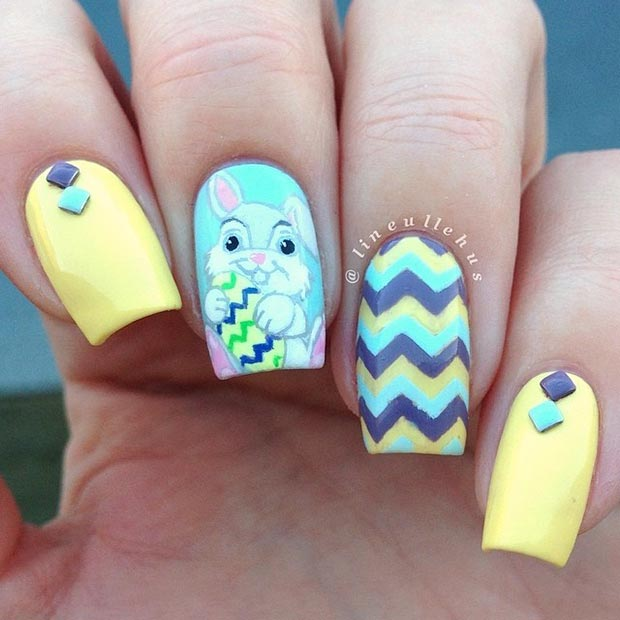 Easter Blue and Yellow Nail Design - 32 Cute Nail Art Designs For Easter StayGlam