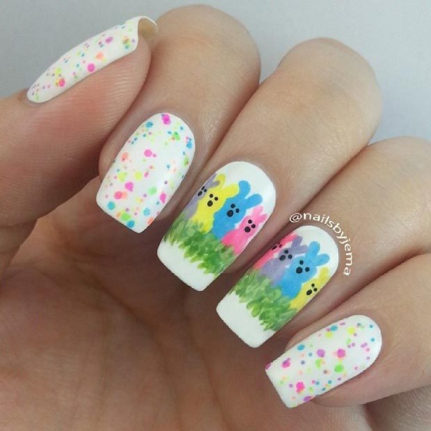 Easter Bunnies Nail Art Design - 32 Cute Nail Art Designs For Easter StayGlam