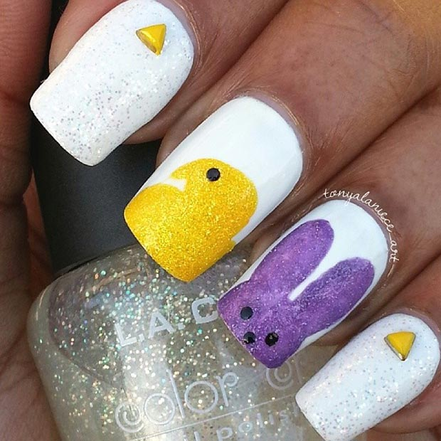 Easy And Simple Easter Nail Art Design
