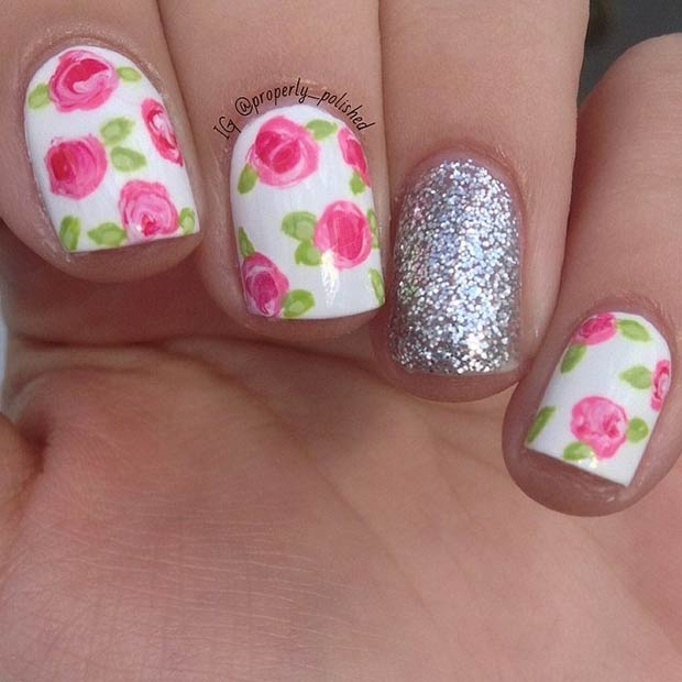Flowers + Silver Glitter Design. Instagram / properly_polished - 50 Flower Nail Designs For Spring StayGlam