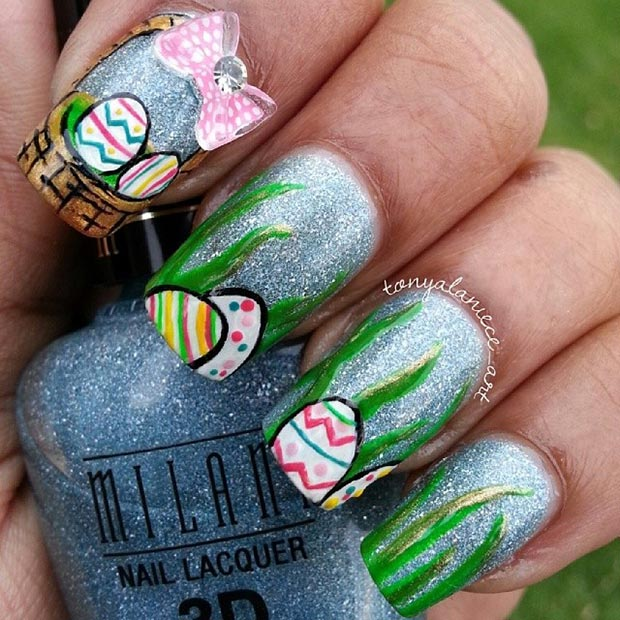 32 cute nail art designs for easter stayglam easter egg basket prinsesfo Choice Image