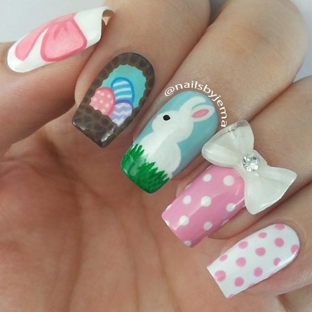 Cute Easter Nail Design for Long Nails