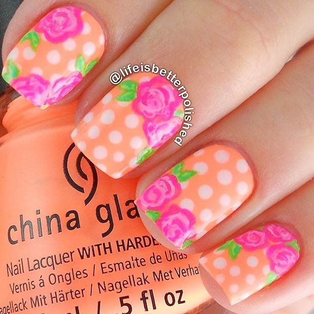 Neon Orange Polka Dot Nails