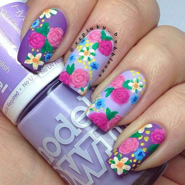 Purple Matte Flower Nail Design