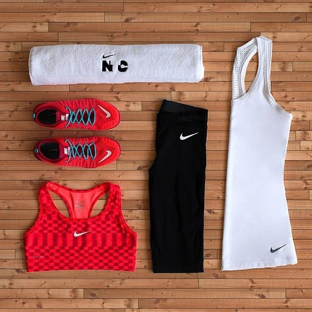 Black Red and White Workout Outfit