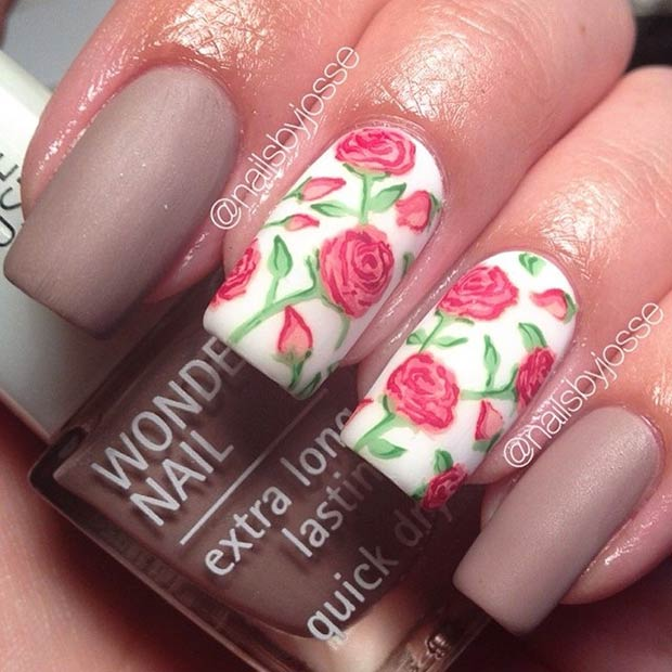 Matte Red Roses Nail Art Design