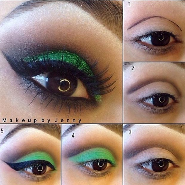 Green Eye Makeup Look for Brown Eyes