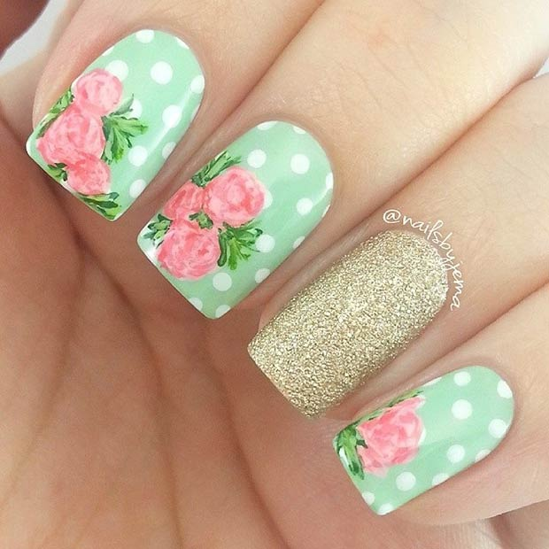 Polka Dot Nail Art Design with Flowers