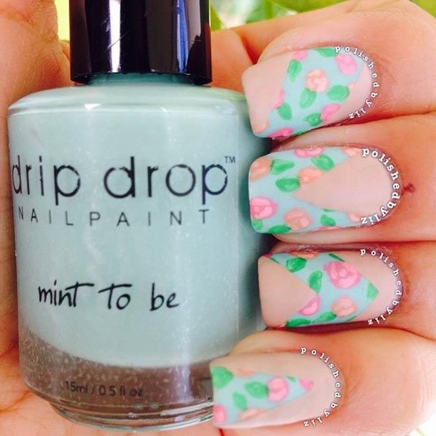 Matte Floral Nail Design