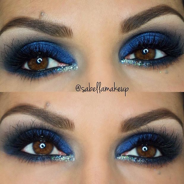 Blue Eyeshadow Makeup Look for Brown Eyes