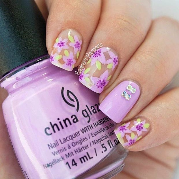 Purple Floral Nail Art Design