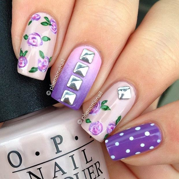 Purple Floral Nail Design