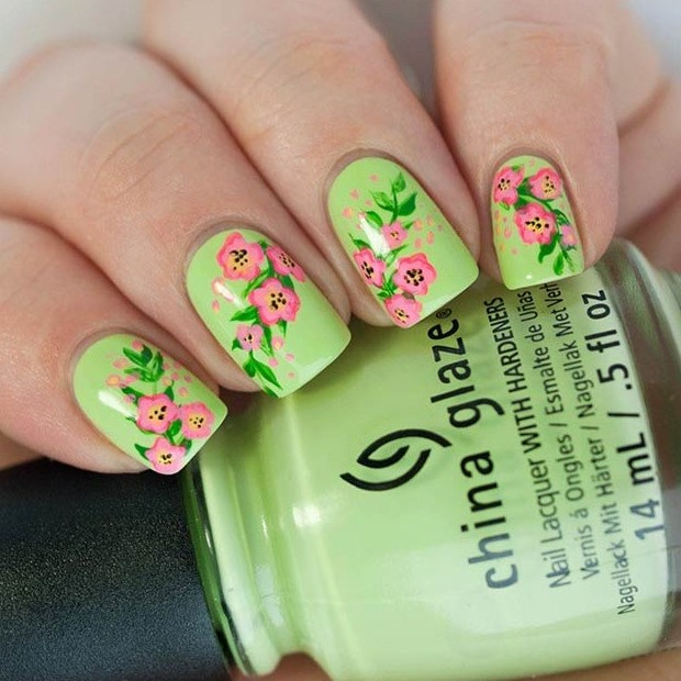 Pink and Green Flower Nails