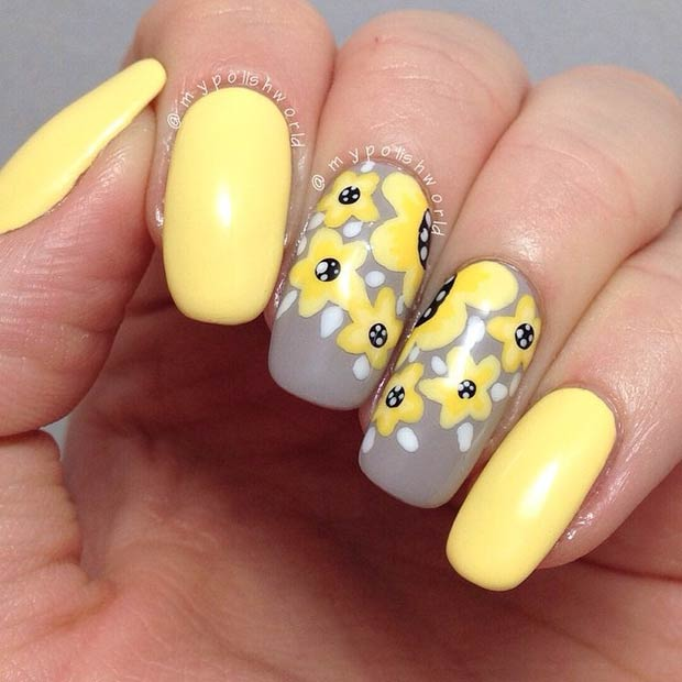 Yellow & Grey Flower Nail Design