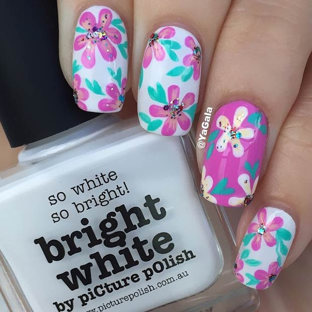 White and Purple Floral Nail Design