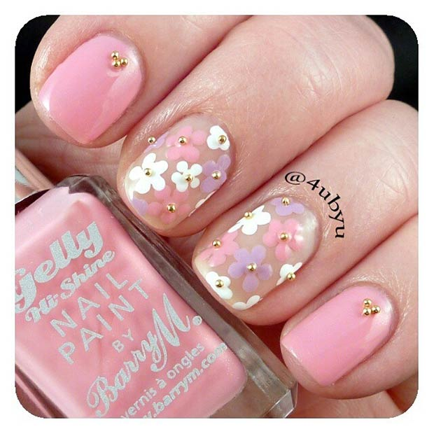 Cute, Light Pink Flower Nails