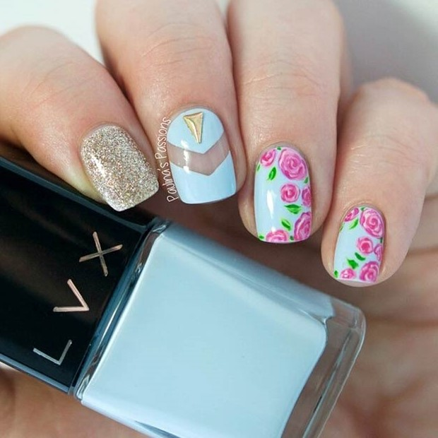 50 flower nail designs for spring stayglam cool flower design instagram paulinaspassions prinsesfo Gallery