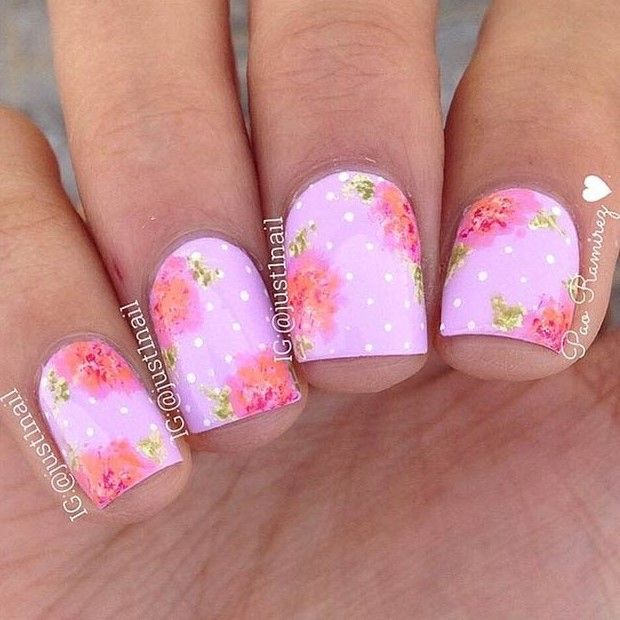 Pink and Gold Flower Nail Design
