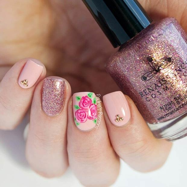 Nude Flower Nail Design
