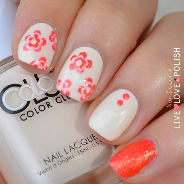 Nude Neon Orange Glitter Nail Design