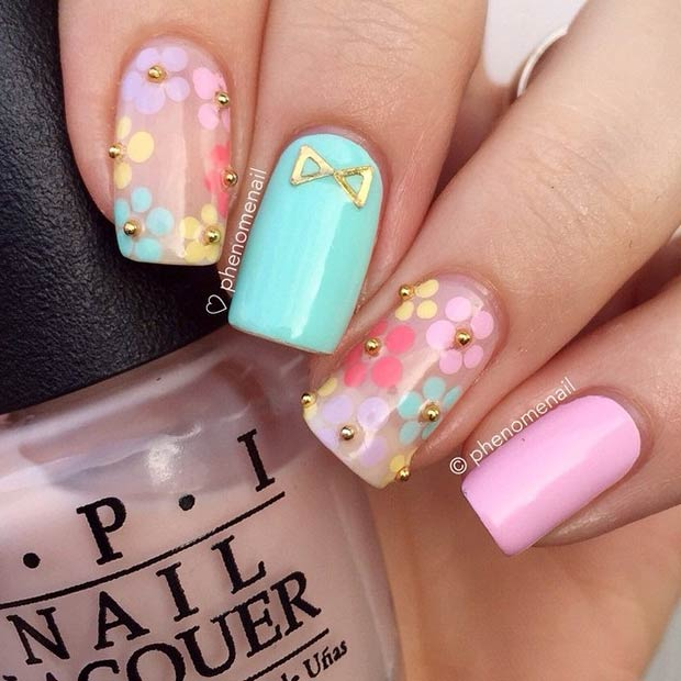50 flower nail designs for spring stayglam pastel flower nail design for long nails prinsesfo Image collections