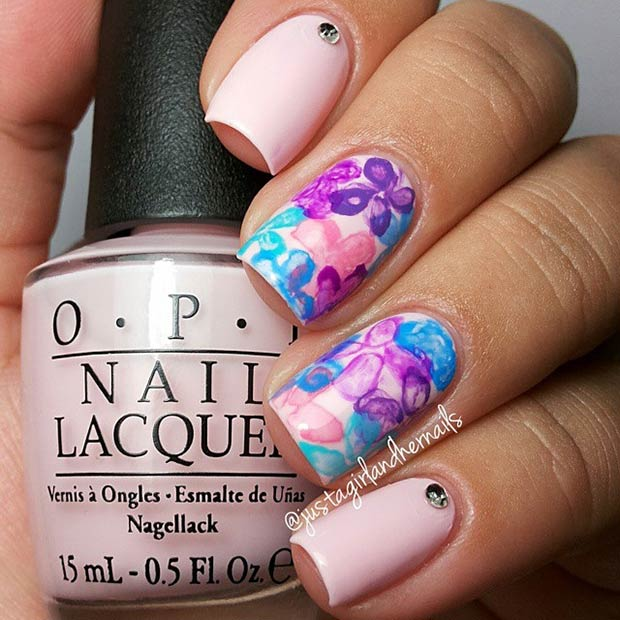 Light Pink and Purple Flower Nail Design