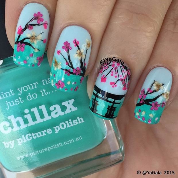 Cherry Blossom Tree Nail Design