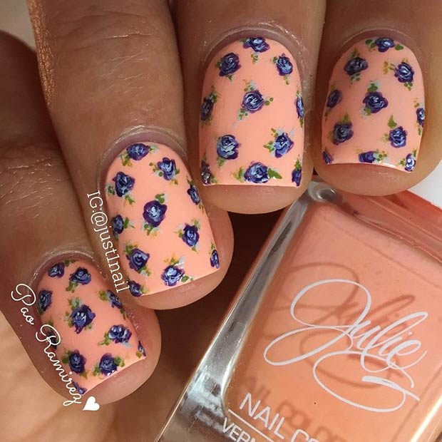 Short Peachy Floral Nails