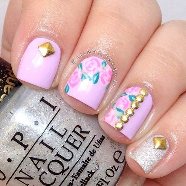 Purple Floral Nail with Gold Studs