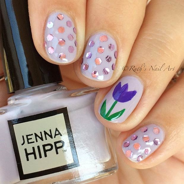 Purple Tulip Accent Nail