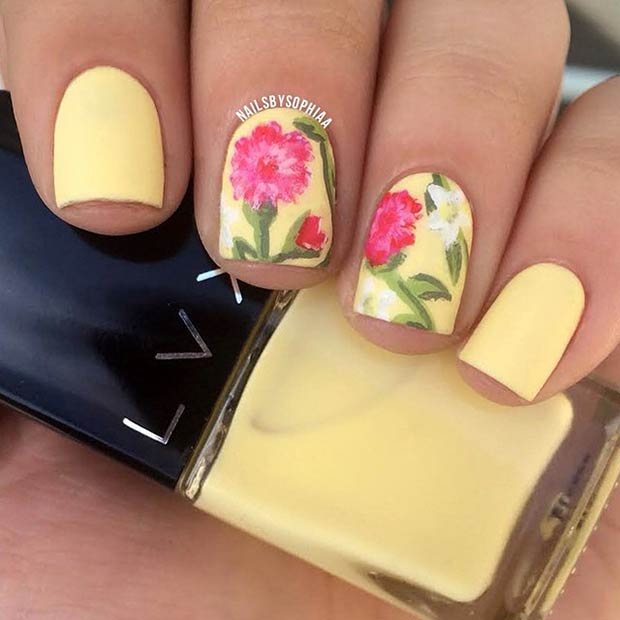 Matte Yellow Floral Nail Design