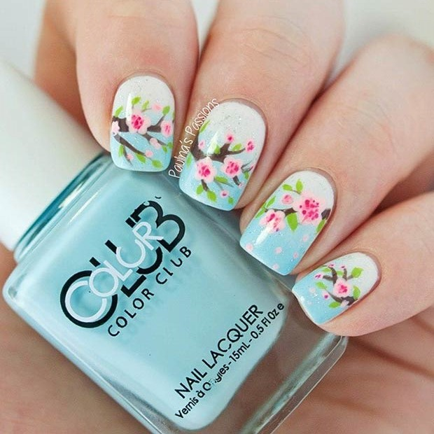 Gorgeous Cherry Blossom Nails