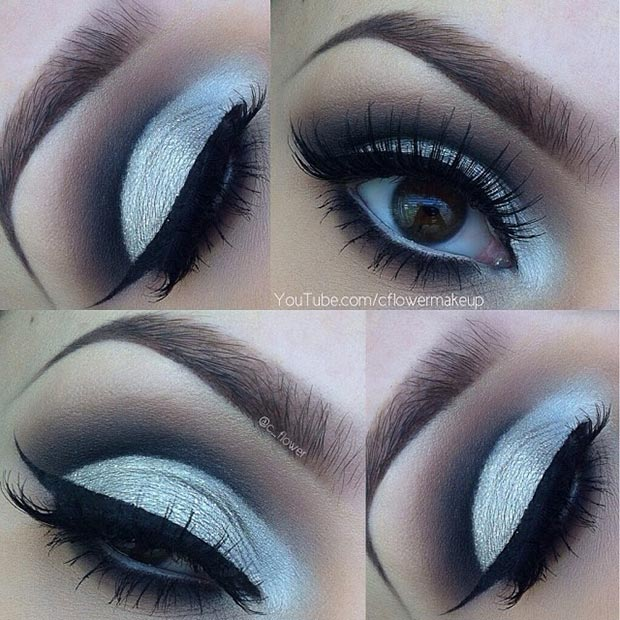 Silver and Black Cut Crease Makeup Look