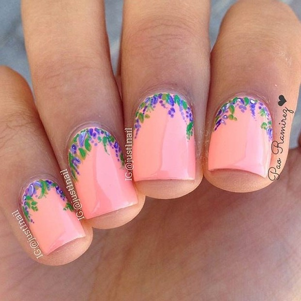 50 flower nail designs for spring stayglam flower design for short nails instagram just1nail prinsesfo Gallery