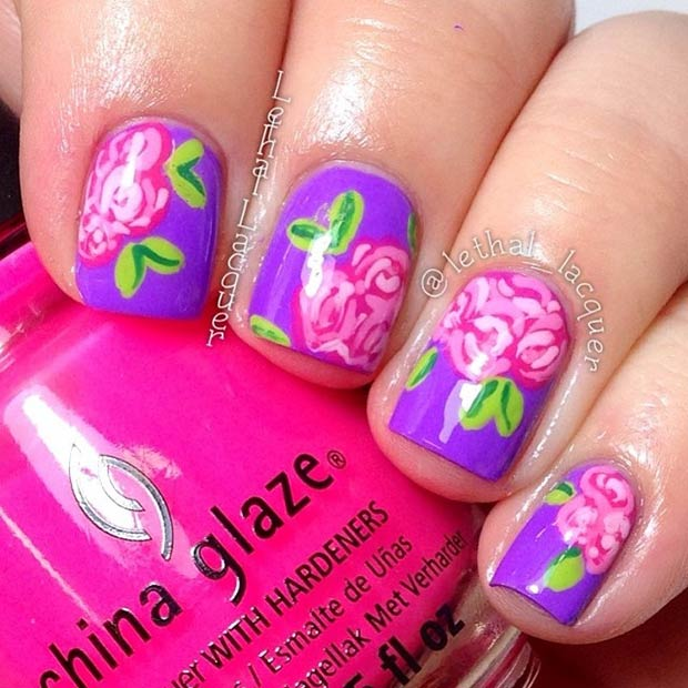 Pink & Purple Floral Nail Design