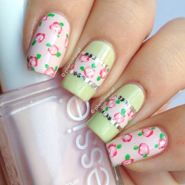 Light Pink and Mint Floral Nails