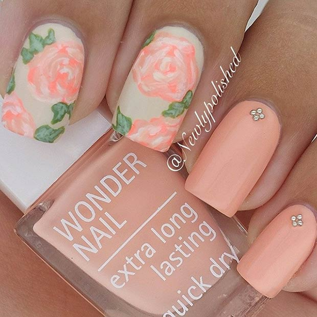 Peachy Matte Flower Nail Design