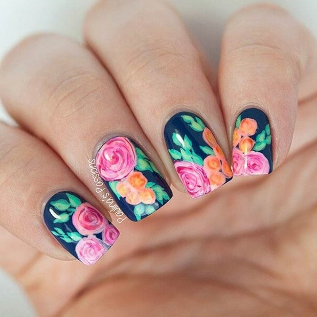 Navy Blue Floral Nail Design
